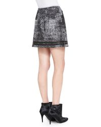 Andrew Marc - Distressed Plaid Shimmery Miniskirt - Lyst