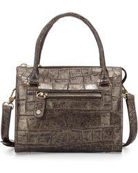 Eric Javits Metallic Crocprint Satchel Bag - Lyst