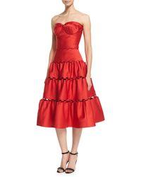 Zac Posen | Strapless Eyelet-trim Tea Dress | Lyst