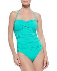 La Blanca Gathered Bandeau One-Piece Swimsuit - Lyst