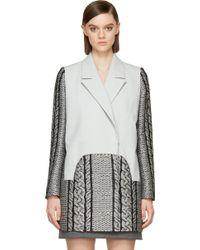 Viktor & Rolf Grey Cable Knit Coat - Lyst