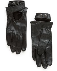 Mango Tab Leather Gloves - Lyst