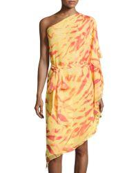 Halston Heritage One-shoulder Animal-print Draped-ruffle Dress - Lyst
