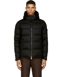 Moncler Black Wool Down Feather Hooded Jacket - Lyst