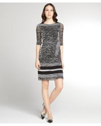 Kay Unger Black and Grey Striped Crepe Ruched Side 34 Sleeve Dress - Lyst
