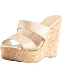 62d601b3b5 Jimmy Choo - Porter Patent Leather Wedge Sandal Nude - Lyst