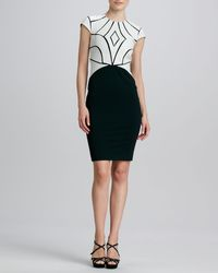 Catherine Deane Ricci Two-tone Leather-bodice Cocktail Dress - Lyst