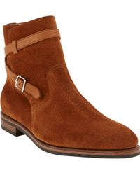 John Lobb Suede Anklewrap Jodhpur Boots - Lyst