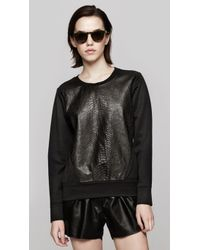 Helmut Lang Leather Combo Sweatshirt - Lyst