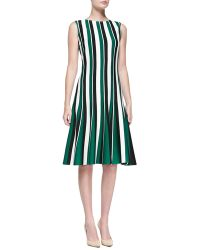 St. John Striped Milano Knit Dress - Lyst