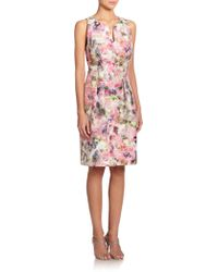 Kay Unger Floral-Print Jacquard Sheath Dress - Lyst