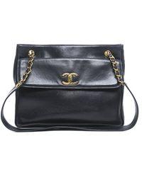 Chanel Pre-Owned Navy Lambskin Front Pocket Cc Shoulder Bag - Lyst