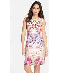 Chetta B Floral Print Sheath Dress - Lyst