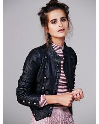 Free People Military Leather Jacket - Lyst