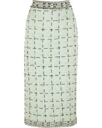 Meadham Kirchhoff - Mikel Embroidered Wool-bouclé Midi Skirt - Lyst