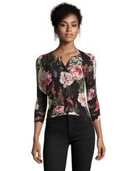 Karen Millen   Black And Pink Rose Print Rib Knit Snap Front Cardigan   Lyst