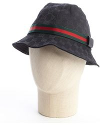Gucci Black and Red Cotton Striped Detail Bucket Hat - Lyst
