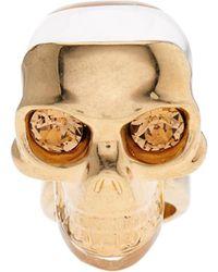 Alexander McQueen Masked Resin Skull Ring - Lyst
