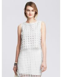 Banana Republic Dot Lace Shell - Lyst
