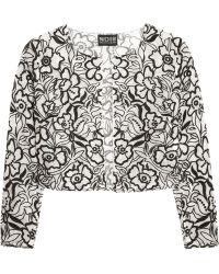 Noir Sachin & Babi - Alice Floral-embroidered Silk-chiffon Jacket - Lyst