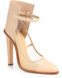 Christopher Kane Leather Mesh Anklestrap Pumps - Lyst