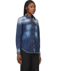 DSquared2 Blue Faded and Painted Western Denim Shirt - Lyst