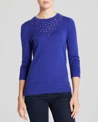 Kate Spade Tokyo Grid Embellished Crewneck Sweater Bloomingdales Exclusive - Lyst