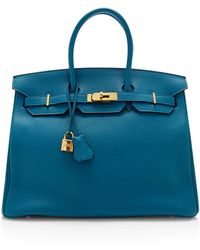 Heritage Auctions Special Collections Hermes 35cm Blue Izmir Clemence Leather Birkin - Lyst