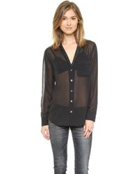 Equipment Keira Blouse with Contrast - True Black - Lyst