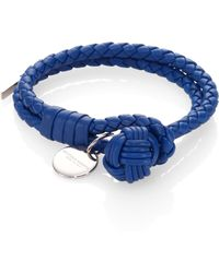 Bottega Veneta Woven Leather Double-Row Bracelet blue - Lyst