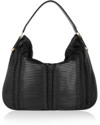 Jimmy Choo Zoe Elpahetrimmed Pleated Leather Shoulder Bag - Lyst