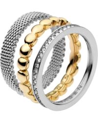 Skagen | Classic Austrian Crystal Gold Two Tone Steel Ring | Lyst