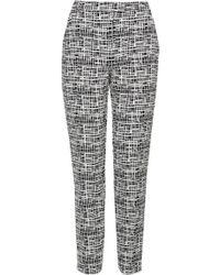 Topshop Womens Crepe Grid Print Cigarette Trousers  Monochrome - Lyst