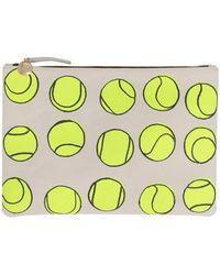 Clare V. Flat Clutch In Tennis Canvas - Lyst
