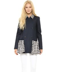SUNO - Pleated Hem Trench Coat Double Face Checks - Lyst