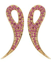 House of Waris - 18kt Gold Drop Spike Earrings With Pavé Pink Sapphires - Lyst