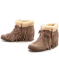 Koolaburra - Fringe Moccasin Wedge Booties - Seta - Lyst