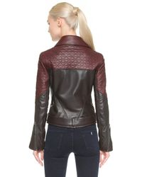 Maiyet - Quilted Moto Jacket - Brown/burgundy - Lyst