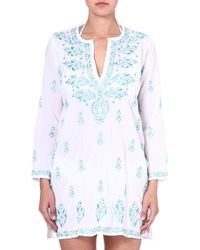 Juliet Dunn Embroidered Cotton Kaftan Whiteturquoise - Lyst