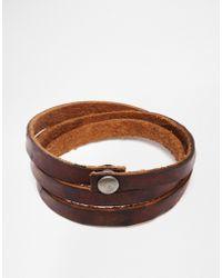Jack & Jones - Leather Wraparound Bracelet - Lyst