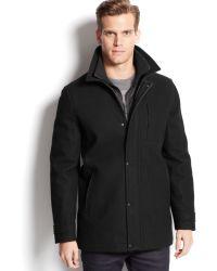 Calvin Klein Wool-blend Melton Bibbed Car Coat - Lyst