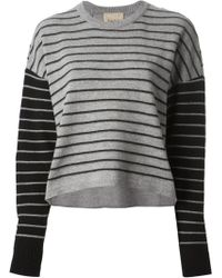Nude Striped Lace Insert Sweater - Lyst