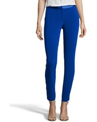 Diane von Furstenberg | Cosmic Cobalt Stretch Crepe 'cady' Flat Front Cropped Pants | Lyst