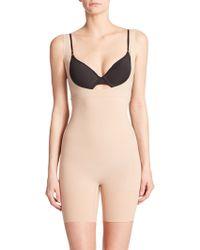 Spanx Shape My Day Open-Bust Mid-Thigh Bodysuit beige - Lyst