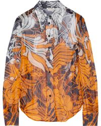 Miu Miu Floral-print Silk-chiffon Shirt - Lyst