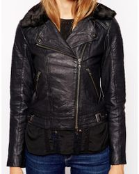 Parka London Jules Leather Jacket with Detachable Collar - Lyst