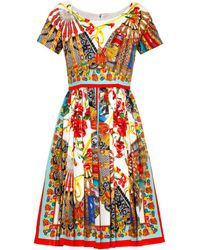 Dolce & Gabbana Fan-Print Pleated Dress - Lyst