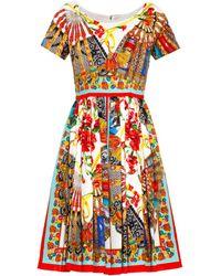 Dolce & Gabbana Fan-Print Pleated Dress multicolor - Lyst