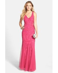 Adrianna Papell Beaded Mesh Inset Gown - Lyst
