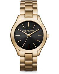 Michael Kors | Slim Runway Goldtone Stainless Steel Bracelet Watch | Lyst